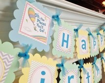 Oh The Places You'll Go Inspired Happy Birthday Collection - Pastel Purple Chevron Green Stripes Yellow & Blue Accents