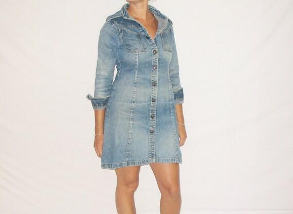70s Vintage Landlubber Long Sleeve Snap Front Denim Jean Dress