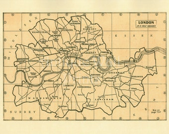 Large London Map Antique Map Poster Print A5 A4 A3 A2