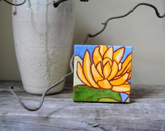 Yellow Water Lily | Original Acrylic Water Lily Painting | On the Pond | Original Art | Wall Decor