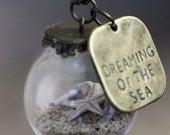 Miniature Beach Globe - Sand Shells Starfish - Beach Necklace - Tiny Beaches - Beach Glass Jewelry - Beach Vial Jewellery