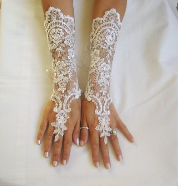 Long ivory wedding gloves bridal gloves lace gloves fingerless for Wedding dresses with gloves