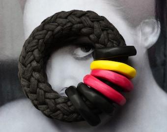 Afro punk fashion/large bracelet/oversize bracelet/fabric bracelet/Afrocentric/African clothing/comfortable bracelet/tribal chic/black
