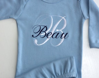 Personalized Embroidered Monogrammed Newborn Infant Baby Pink, Yellow, or Blue Sleep Sack Gown - Layette - Sleeper