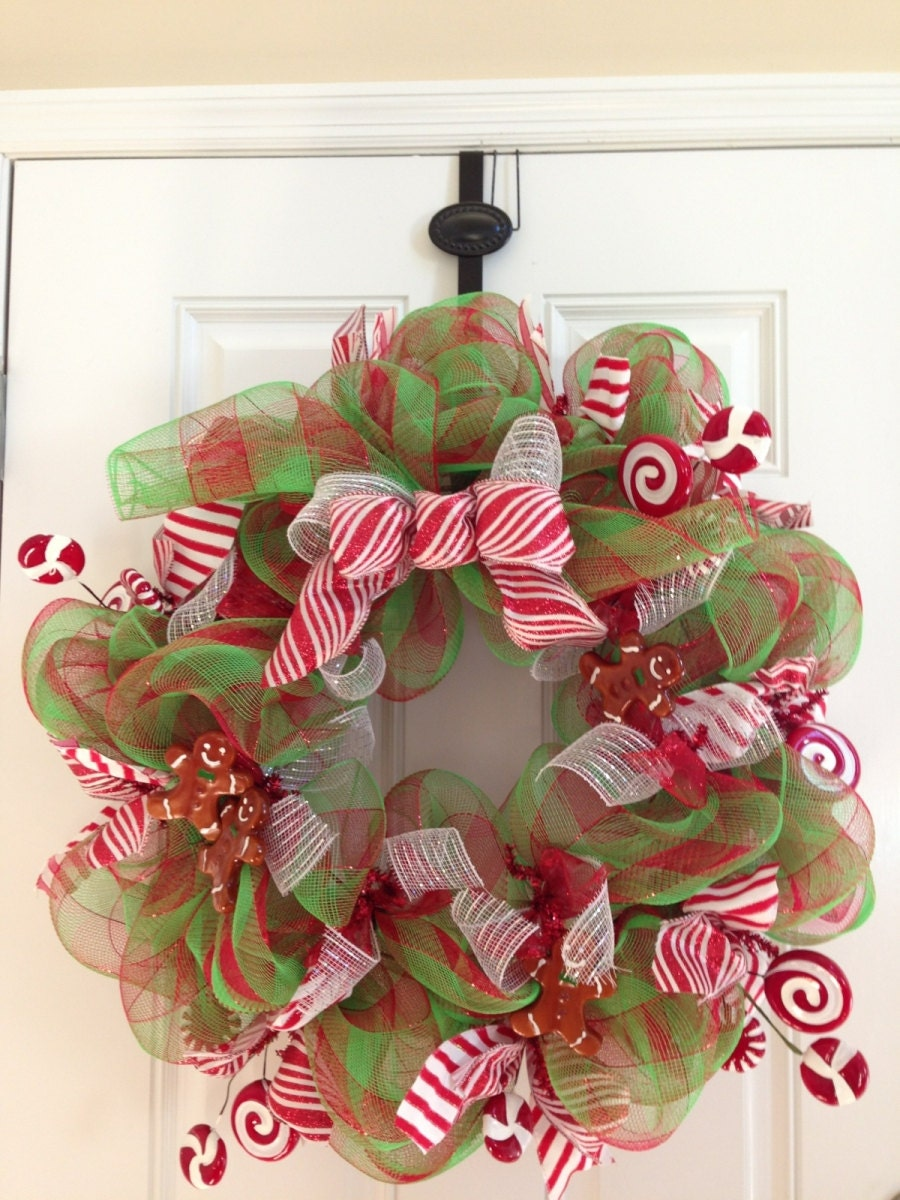 Christmas Red and Lime Green Peppermint Deco Mesh Wreath