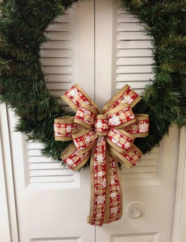 Christmas Wreath Bow Burlap Snowflake By Custombowsbyjami