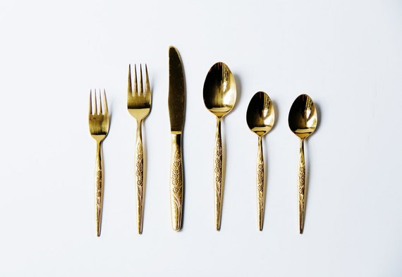 53 Piece Gold Flatware Set / Service for 8 / Chic, Festive Servingware / Hollywood Regency Silverware / Utensils / Instant Collection