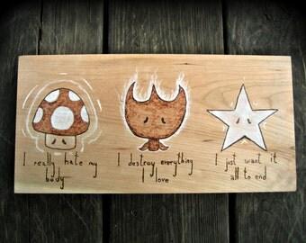 Paranoid Power-Ups : Super Mario Wood Burning Art