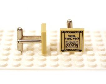 I came, I saw, I conquered / Veni Vidi Vici cufflinks. Cufflinks made with LEGO(R) bricks. Classical Latin phrase Cuff links Cufflink