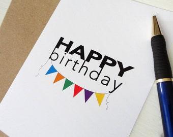 Colorful banner birthday card happy birthday greeting card elegant print