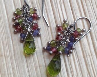 Idocrase, (Vesuvianite)  Briolette Earrrings/ Minimalist Jewelry/ Garnet, Iolite Cluster Earrings Heart Chakra Sterling Silver
