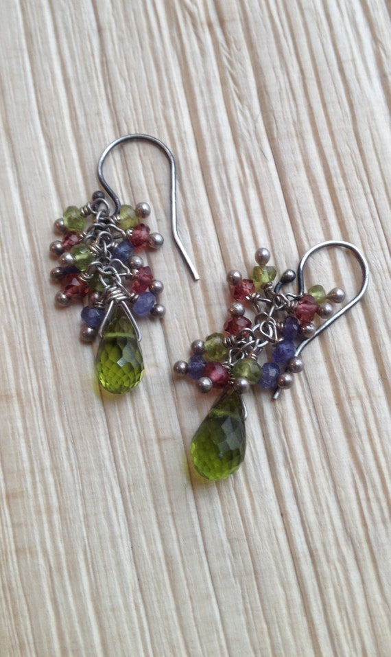 Idocrase, (Vesuvianite)  Briolette Earrrings/ Minimalist Jewelry/ Garnet, Iolite Cluster Earrings Heart Chakra Sterling Silver