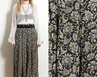 sale vintage 90s wide leg HIGH WAISTED boho hippie PANTS skirt