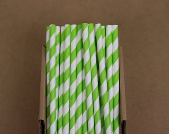 25 apple green striped paper straws (PS0009) -  Party straws - with printable DIY flags