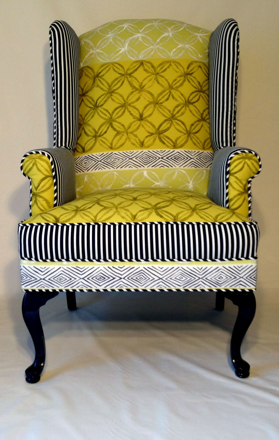 up cycled wingback chair with designers guild fabric in. Black Bedroom Furniture Sets. Home Design Ideas