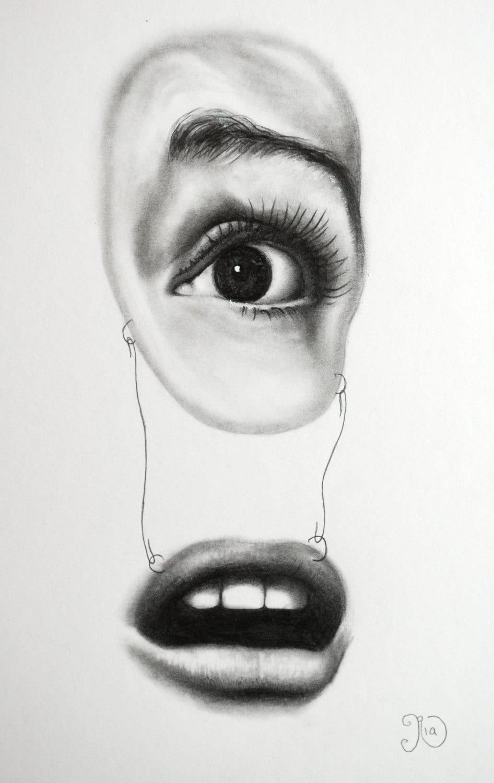 EYE & MOUTH Classic Horror Original Pencil Drawing