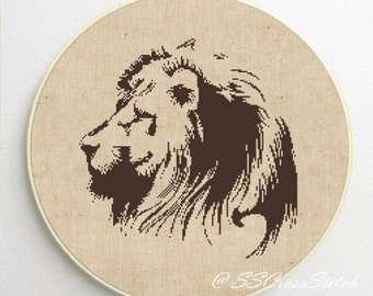 Lion Head Silhouette Counted Cross Stitch Pattern