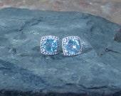 Sky Blue Topaz Gemstone Diamond Sterling Silver Post Earrings - Ready to Ship