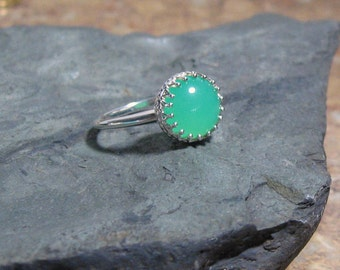 Chrysoprase Crown Sterling Cocktail Ring, Ready to Ship, size 7.25