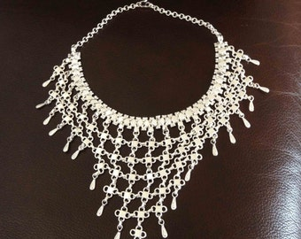 925 Silver Plated Ethnic Collar Necklace
