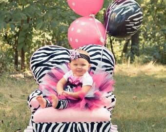 Pink and Black Zebra 1st Birthday Tutu / Photo Prop Tutu, Toddler Tutu, Newborn Tutu
