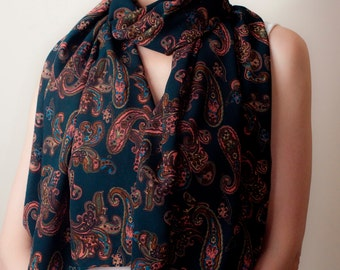 Teal Blue Scarf Paisley Print Classic Tube Scarf Turquoise Wrap Oversized Scarf Shawl Wrap Unisex Women's Men's Fashion Accessories