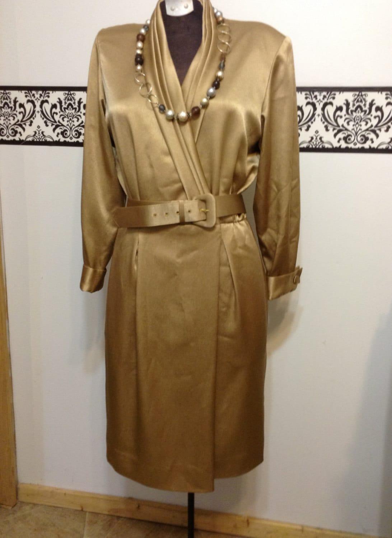 Gold Vintage 1980s Liz Claiborne Dress Small Liz Taylor