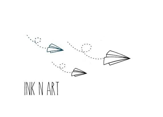 3pcs set paper airplane inknart temporary tattoo wrist quote tattoo body sticker fake tattoo - Avion en papier tatouage ...