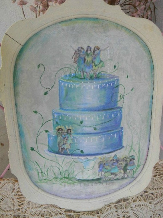 ViNTaGe Original ART Painting FAIRY WeDDiNG CaKE Large Nursery
