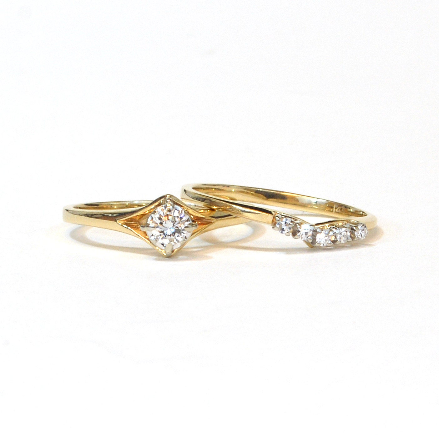 Vintage Diamond Wedding Set Engagement Ring by JewelryWanderlust
