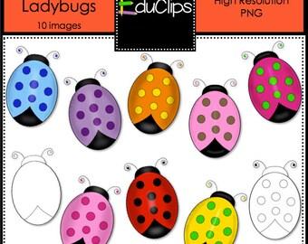 Colorful Ladybugs Clip Art