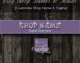 Etsy Shop Banner and Matching Avatar - Premade Bling Sparkles Theme- Customize Shop Name and Tagline - Graphic Design Service - Bling Shop