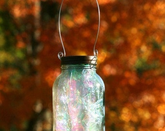 Fall Decor - Mason Jar Solar Light - Fairy Lantern - Garden Decororation - Outdoor Lighting - Fairy Jar - Whimsical Decor - Gift For Kids