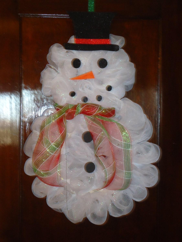 Handmade Deco Mesh Snowman Wreath