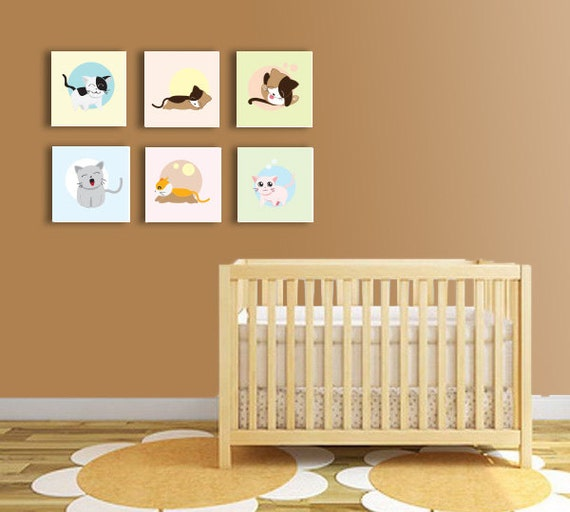 Baby Room Ideas Nursery Themes And Decor: Baby Room Decor Six Loving Cats Prints Nursery Decor