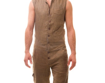 SALE: Tweed Style Tailored Men's Jumpsuit - Brown Houndstooth-Check Linen
