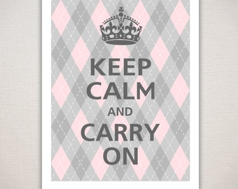 Keep Calm and Carry On Argyle Typography Wall Decor Art Print 11x14