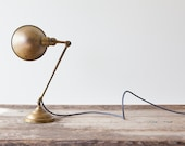 Vintage Industrial Brass Desk Lamp by Faries, c. 1920