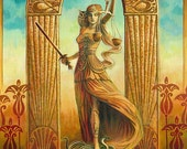 Justice Tarot Art 5x7 Blank Greeting Card Art Nouveau Gypsy Art Deco Pagan Mythology Psychedelic Bohemian Gypsy Witch Goddess Art