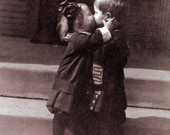 Vintage Photo Greeting Card I LOVE you Kissing Kids