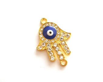 1 pc-Matte Gold plated Hand of Hamsa with rhinestone connector-40x25mm-(003-018GP)