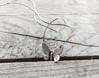 Sterling silver butterfly necklace-Butterfly jewelry- Insect necklace -Chain butterfly necklace-Gift for daughter-Every day jewelry