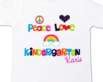 Back to school shirt - colorful peace love kindergarten personalized back to school Tshirt