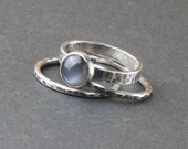 Total Eclipse Set Special - Black Moonstone and Oxidized Sterling Silver Rings Stacking Stackable