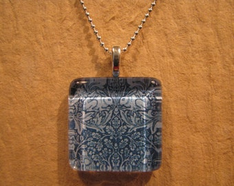 """William Morris Blue Brer Rabbit Wallpaper Square Glass Pendant with 24"""" Ball Chain Necklace Arts and Crafts Jewelry"""