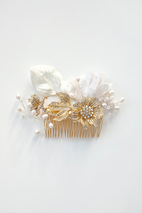 Gold Rose Hair Comb Bridal