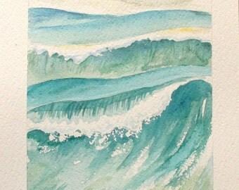 sea waves painting original watercolor  blue wall decor