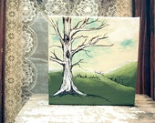 Mixed Media Painting Oak Tree Nature Art Mini Canvas  - The White Oak.