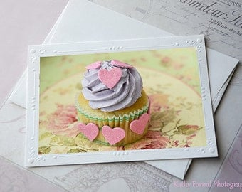 Dreamy Cupcakes Note Card, Shabby Chic Cupcake Hearts Note Card, Food Photography, Cottage Cupcakes Kitchen Art Print, Cupcake Note Cards