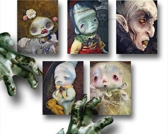 BOO - Set of 5  Halloween Postcards - monsters zombie frankenstein art doll ghost vampire nosferatu freak creatures spooky horror funny